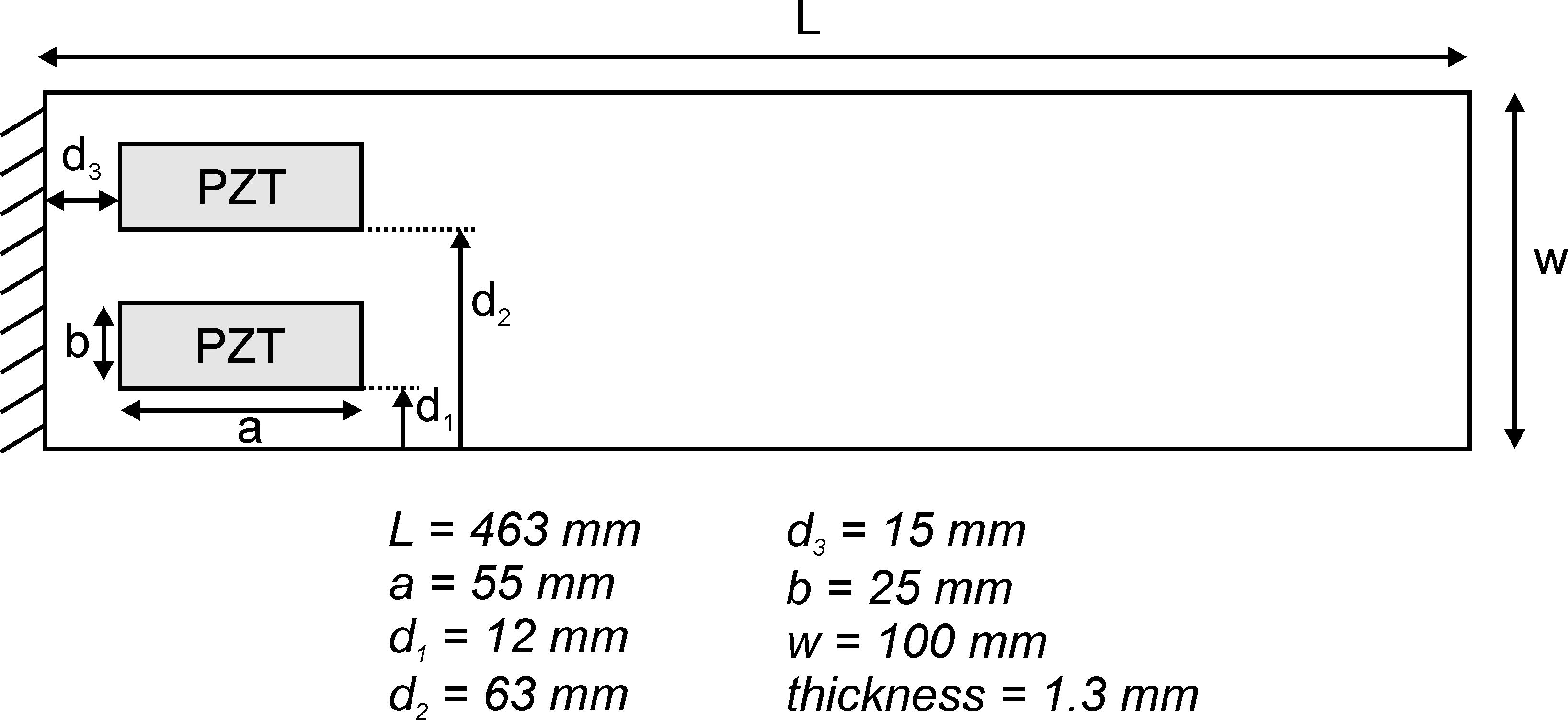 Composite plate with 4 piezoelectric patches